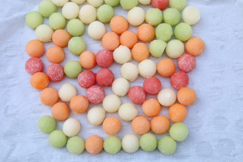 Cubos de gelo de melão e melancia