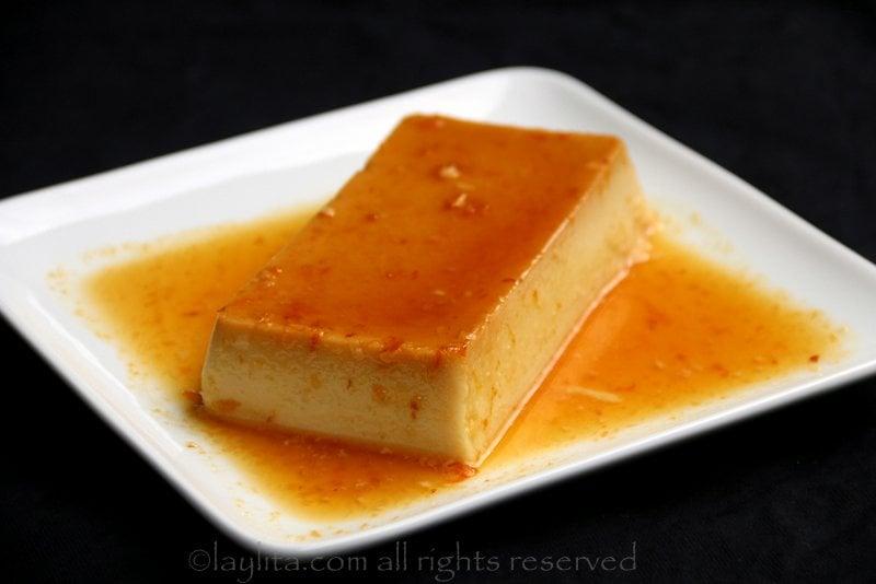 Flan de coco com caramelo de laranja