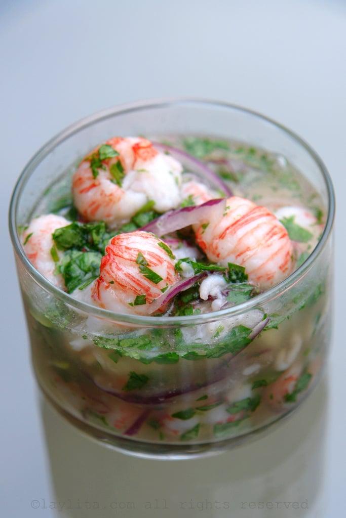 Ceviche de lagostim ou camarão