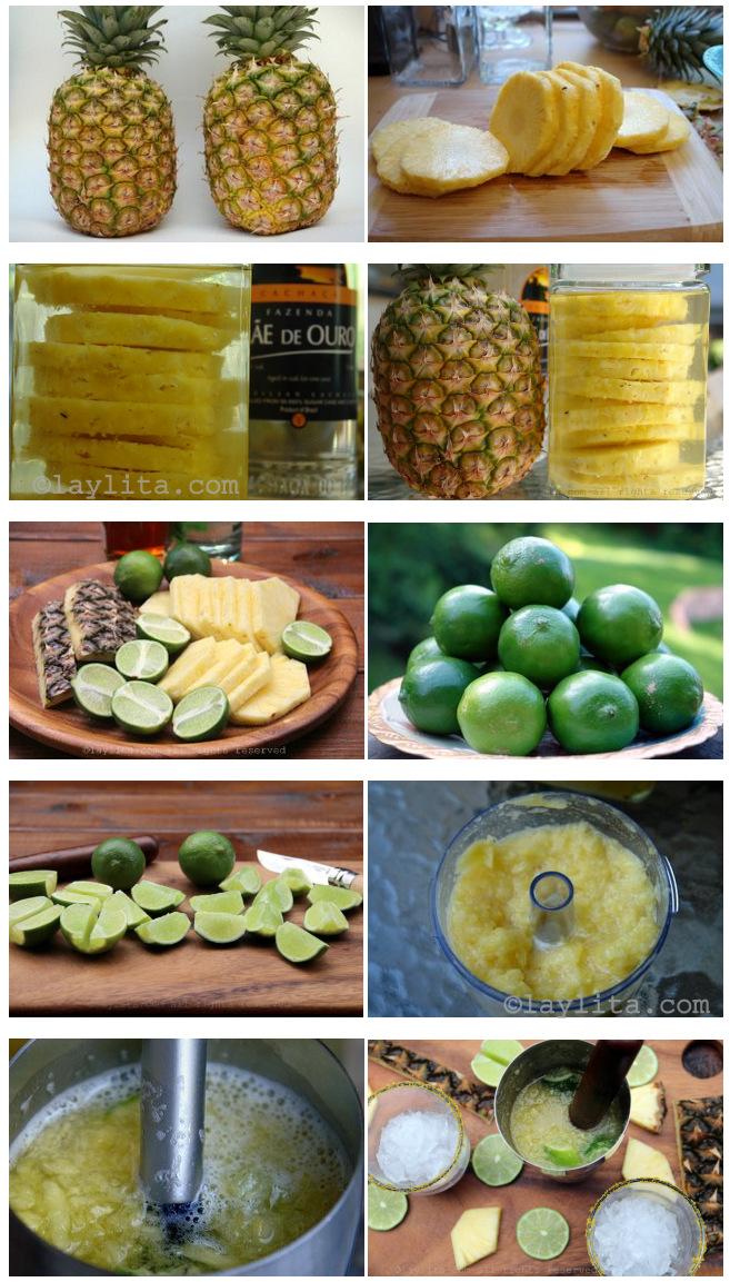 Preparação de caipirinha de abacaxi
