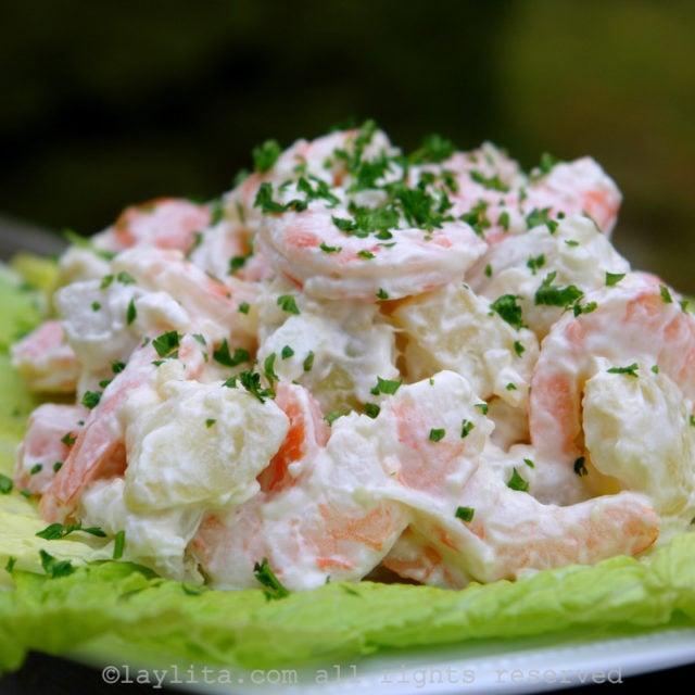 Receita de salada de batata com camarão