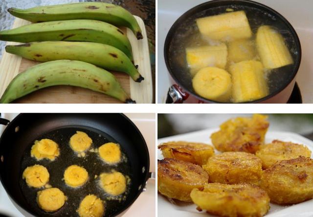 Método em que as fatias de banana-da-terra são fervidas e fritas