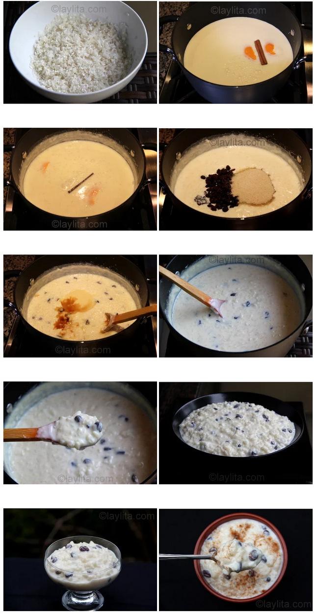Preparação de arroz doce
