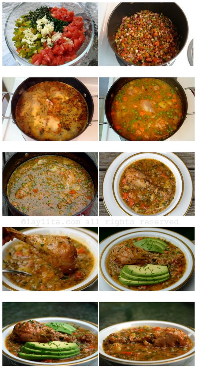 Preparação de canja de galinha equatoriana