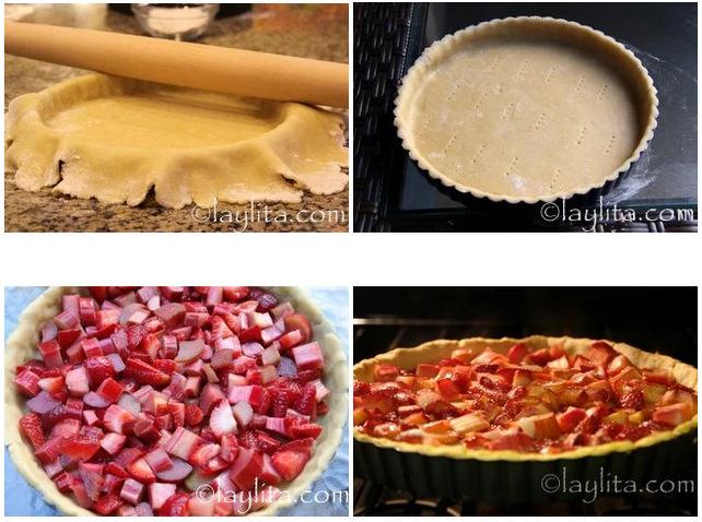 Preparação para a tarte clássica de morango e ruibarbo
