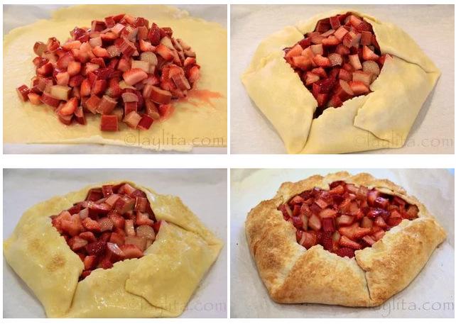 Preparação para a tarte rústica ou galette de morango e ruibarbo
