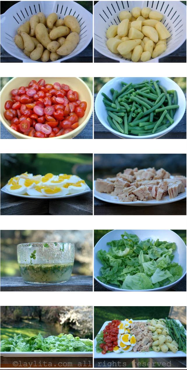 Preparação para Salada Niçoise francesa com atun
