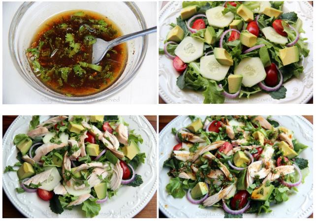 Preparação para salada de frango com molho de coentro balsâmico
