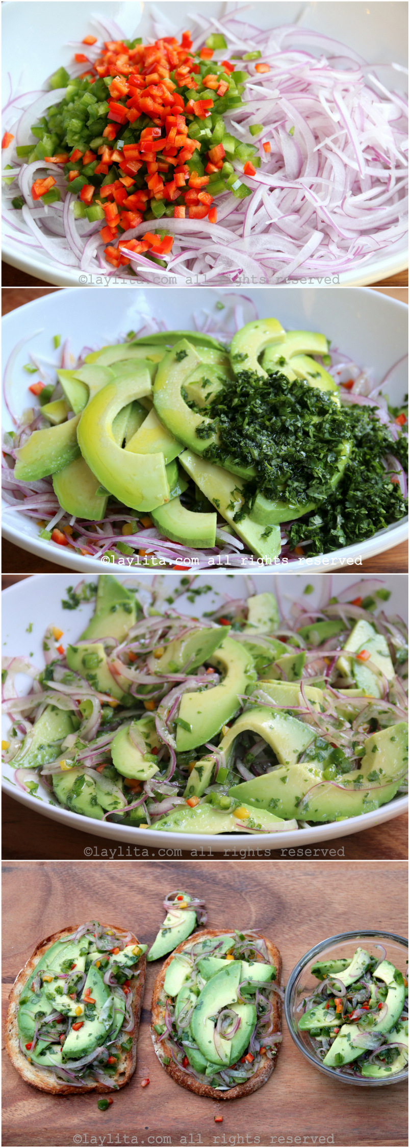 Preparação de Bruschetta de abacate ou Crostini de abacate