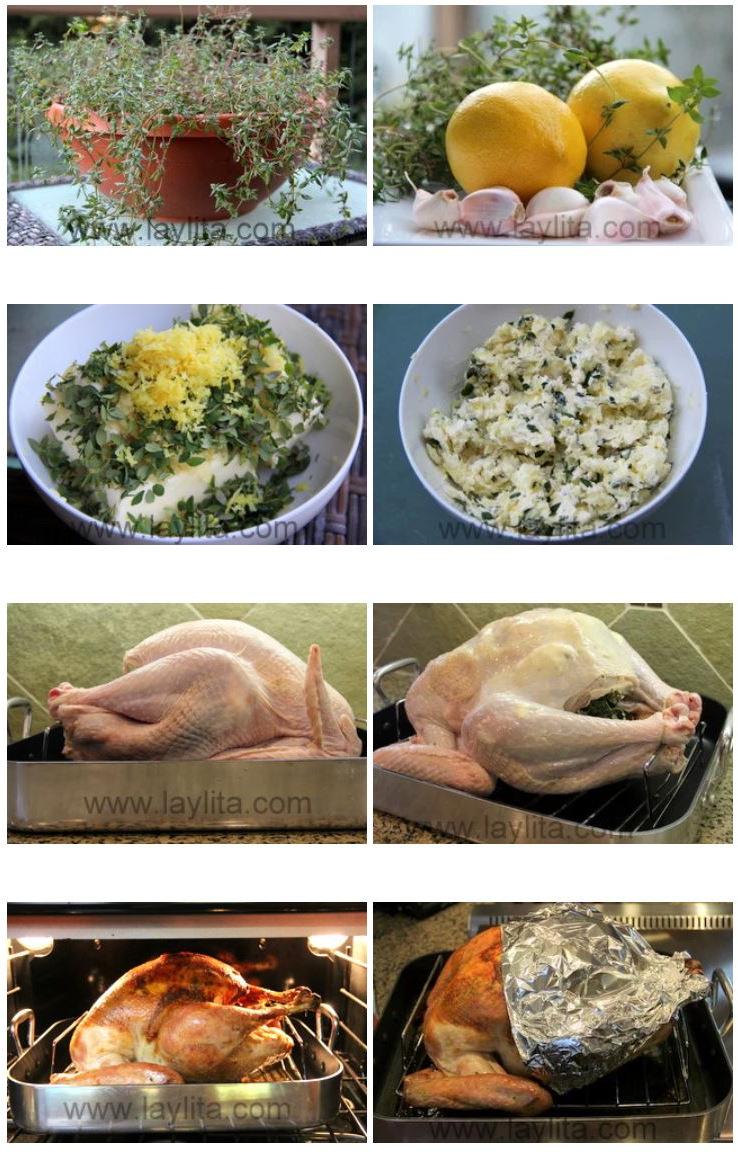 Como fazer peru assado com manteiga, alho, limão e tomilho