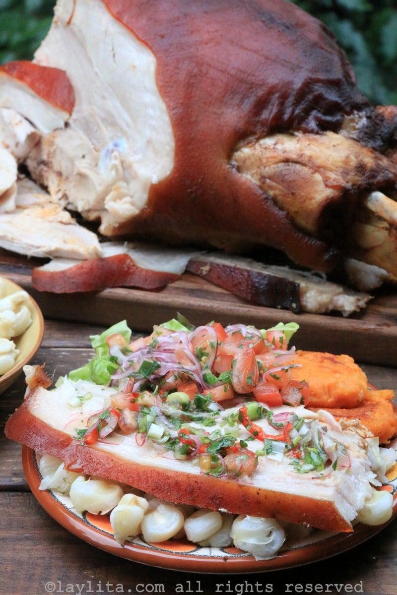 Carne de porco assada com vinagrete equatoriano agrio