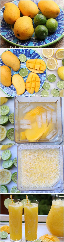 Preparação para a limonada de manga