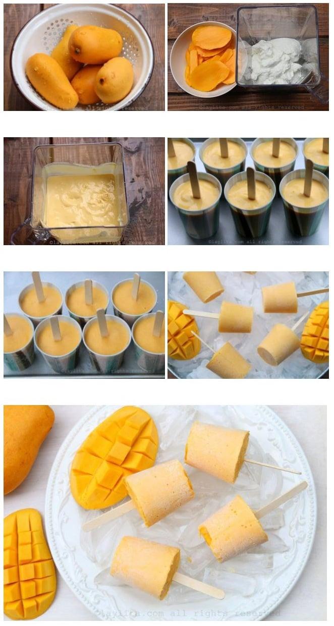 Como fazer picolés de manga e iogurte