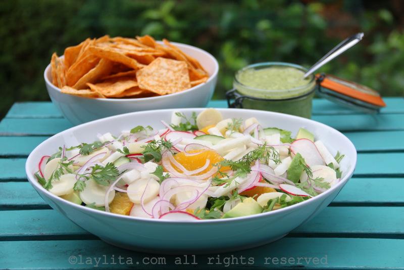 Salada de palmito e abacate