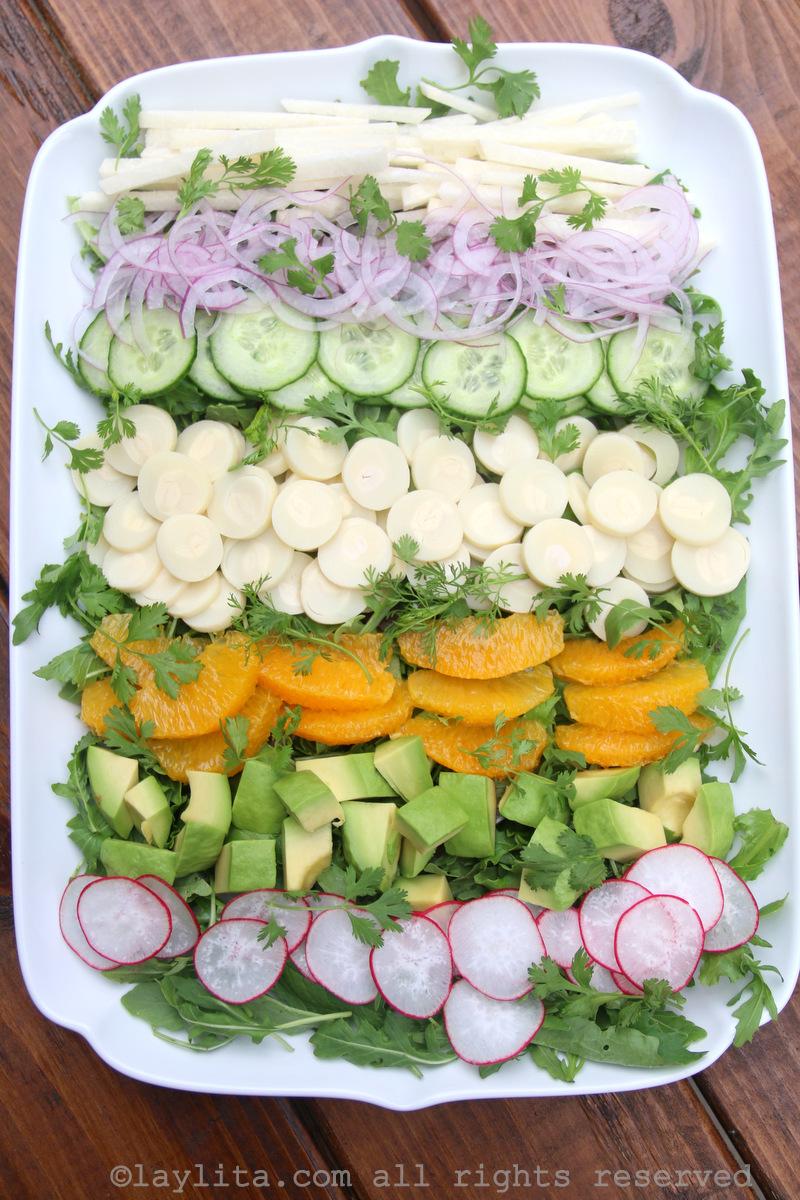 Salada tropical de palmito
