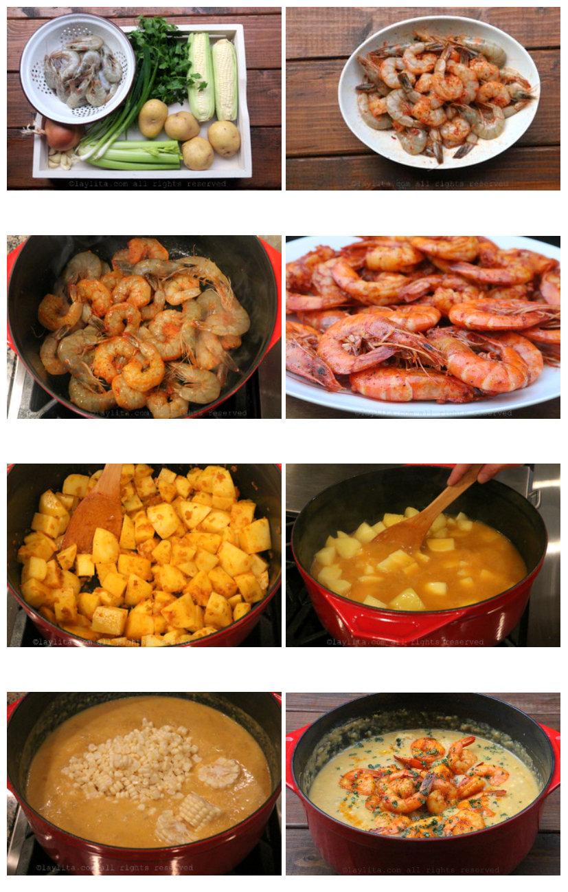 Como fazer creme ou sopa de camarão e milho