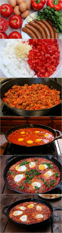 Como preparar shakshuka com chorizo ou merguez
