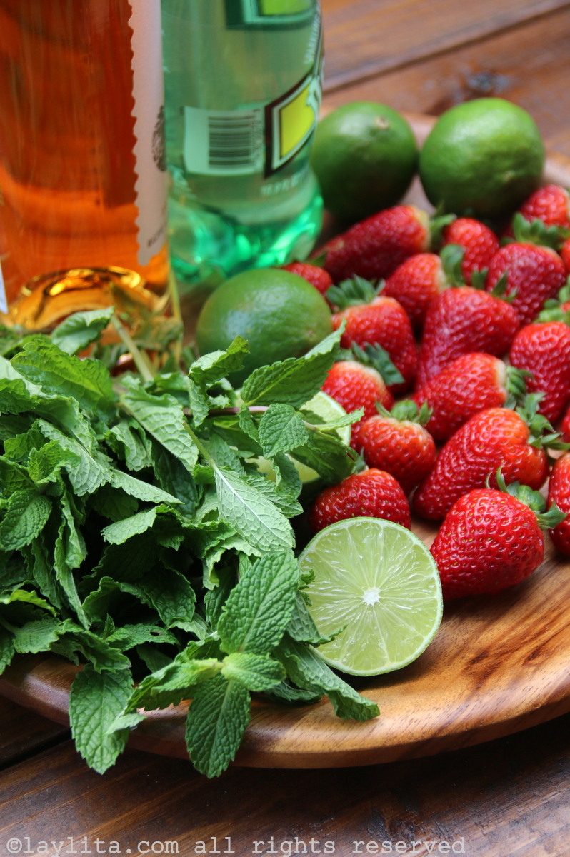 Ingredientes do mojito de morango