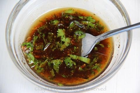Aderezo balsamico con cilantro