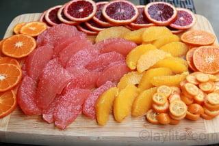 Toronja, naranja, mandarina, naranja sanquinea para sangria