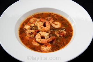 Receta facil para la sopa de camarones