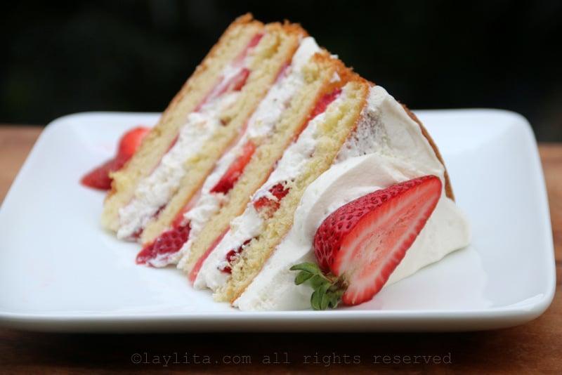 Pastel shortcake de fresas y crema