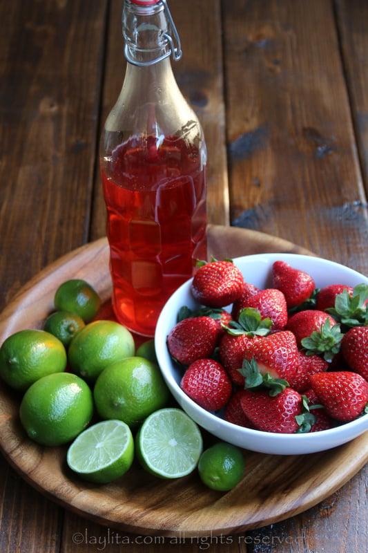 Tambien se puede usar tequila de fresa