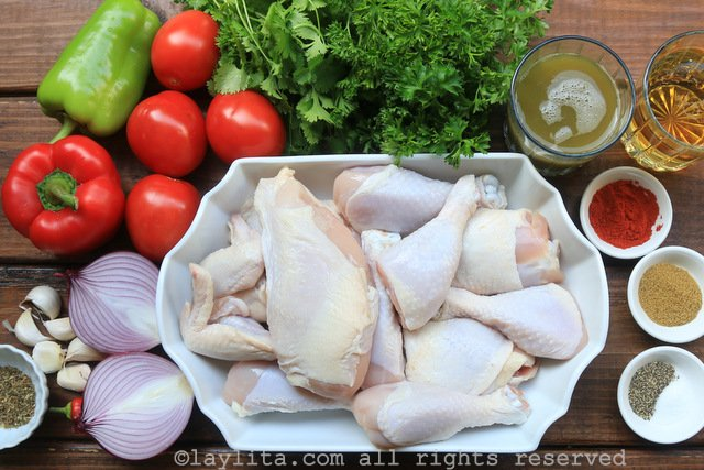 Ingredientes del seco de pollo o seco de gallina