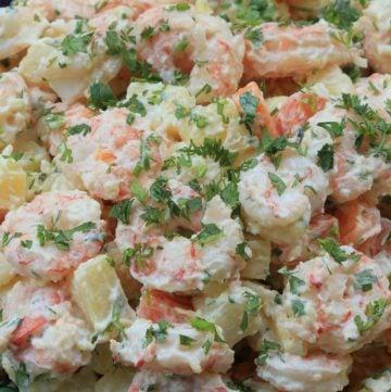 Receta de la ensalada de papa con camarón