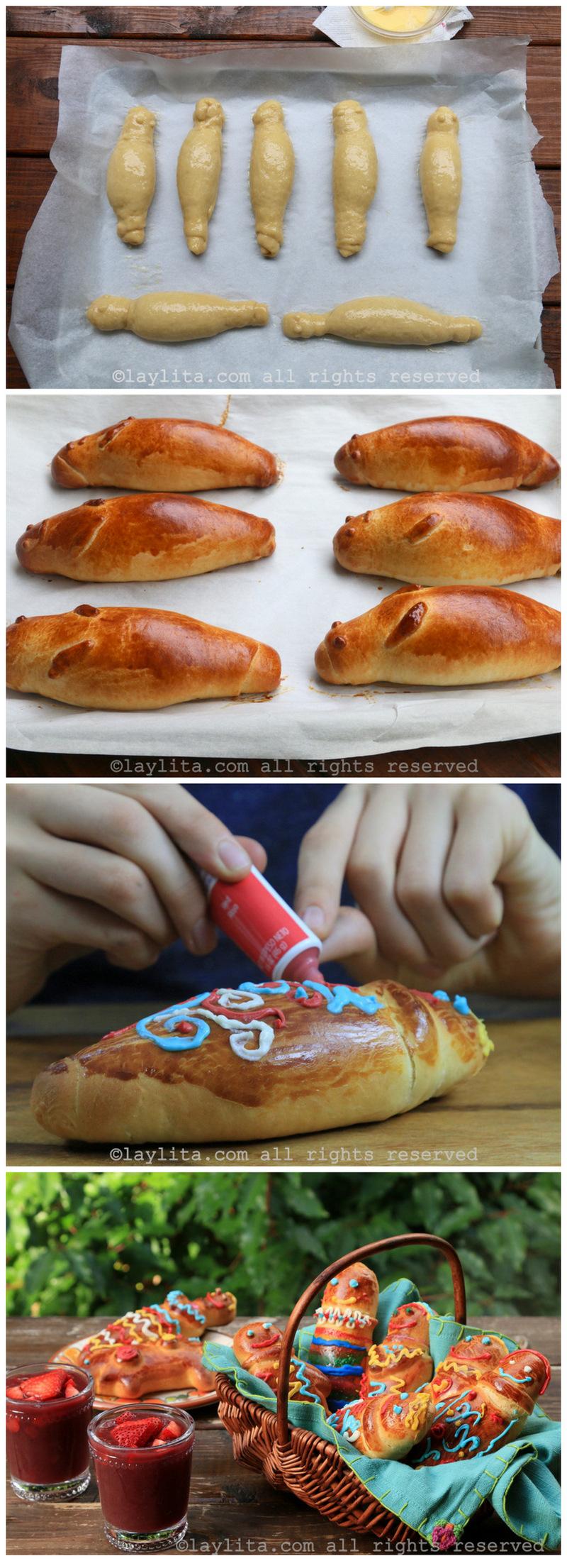 Hornear y decorar las figuras de pan o guaguas de pan ecuatorianas