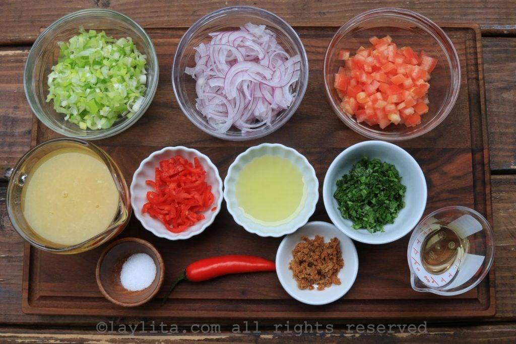 Ingredientes del agrio ecuatoriano