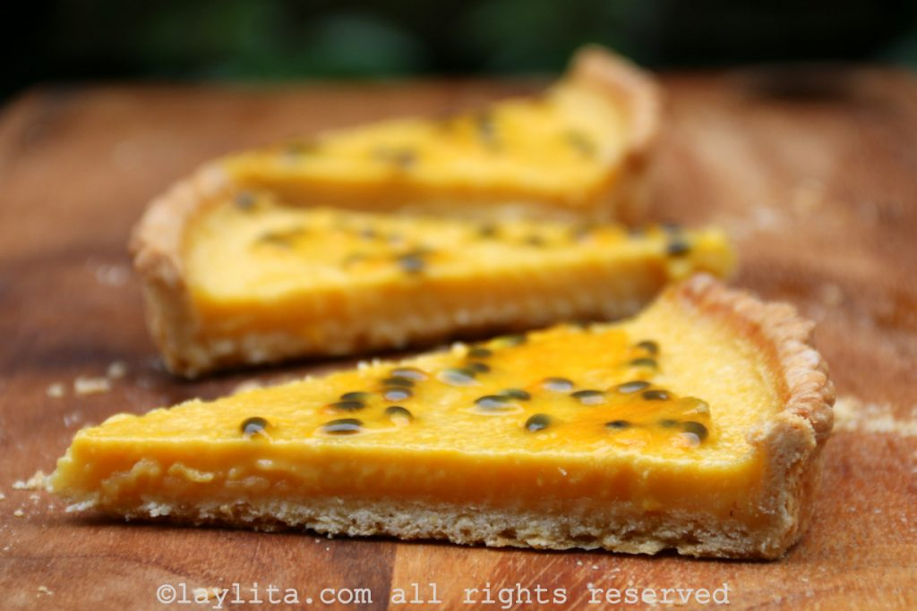 Tarta dulce de maracuyá, chinola o parchita