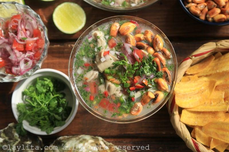 Ceviche de ostras u ostiones ecuatoriano