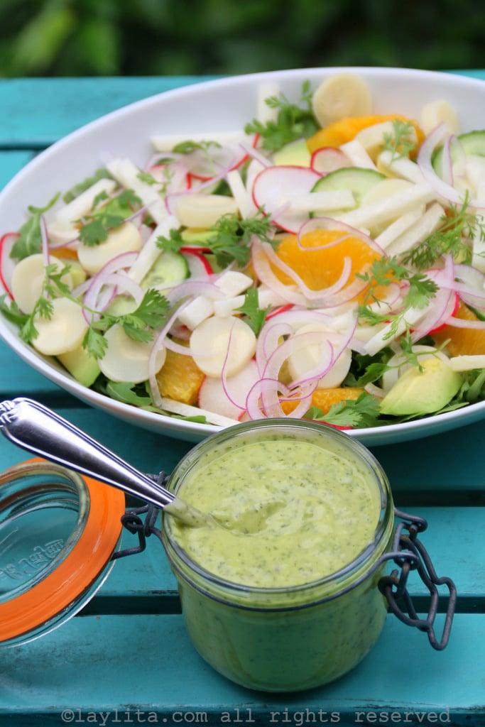 Aderezo de aguacate con limón y cilantro