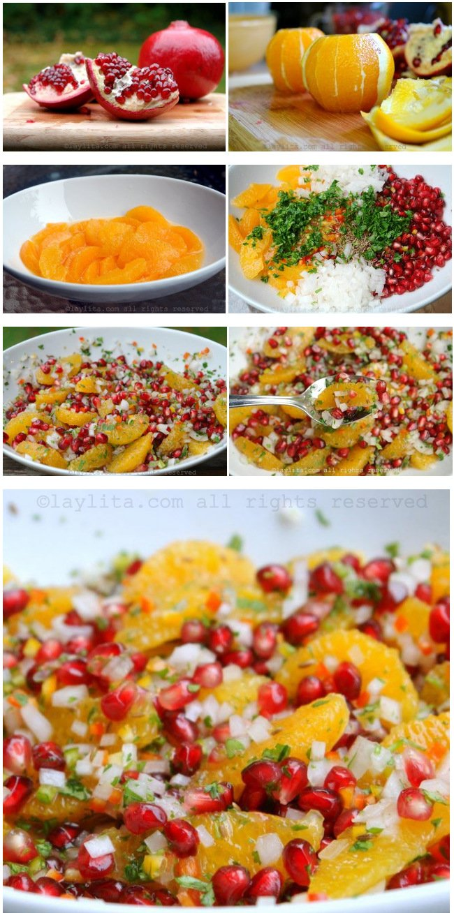Preparación de la salsa o ensaladita de granada y naranja