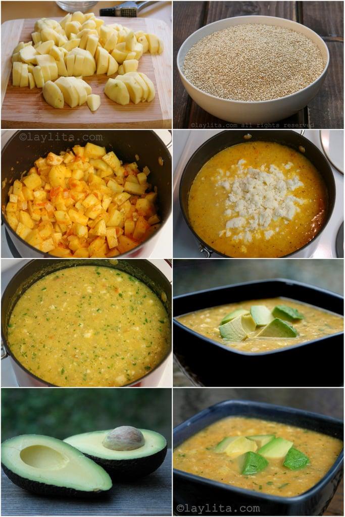 Preparación de la sopa de quinua con queso