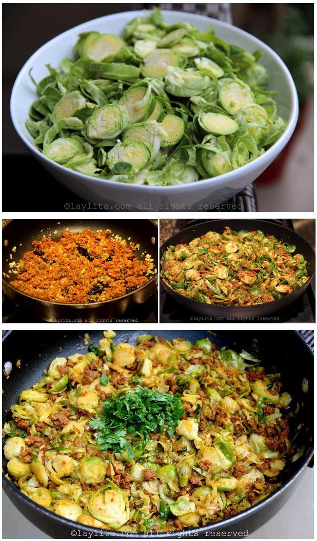 Receta para preparar coles de bruselas con chorizo