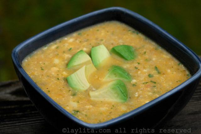 Sopa de quinua con queso