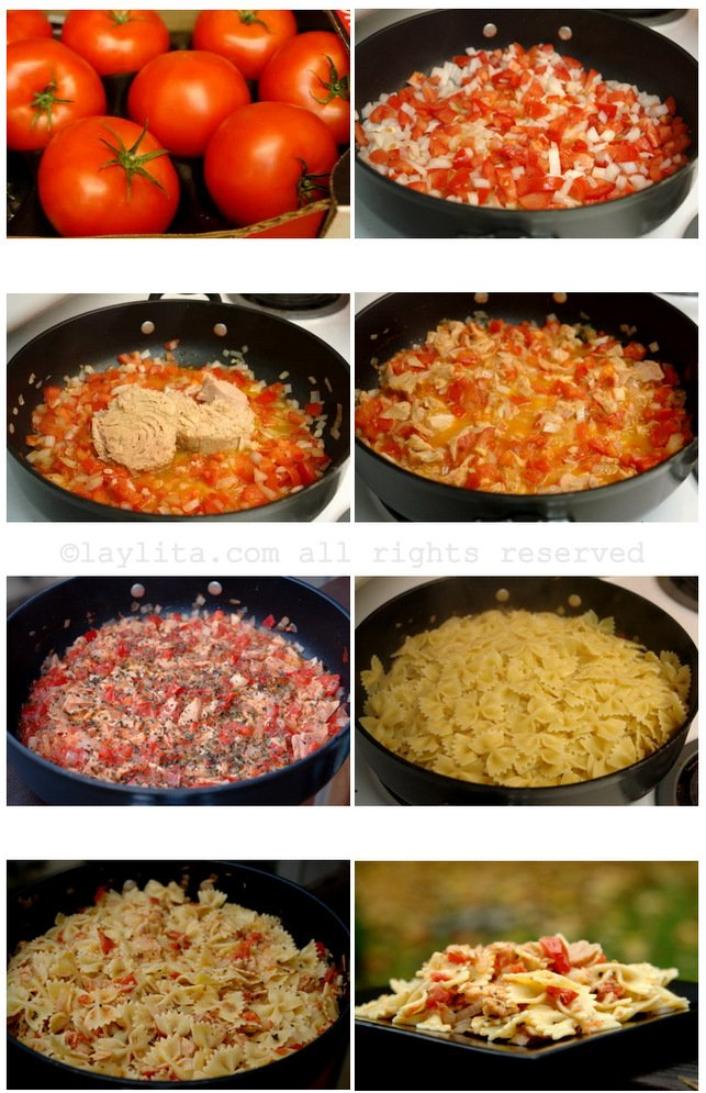 Como hacer pasta con atún y tomate