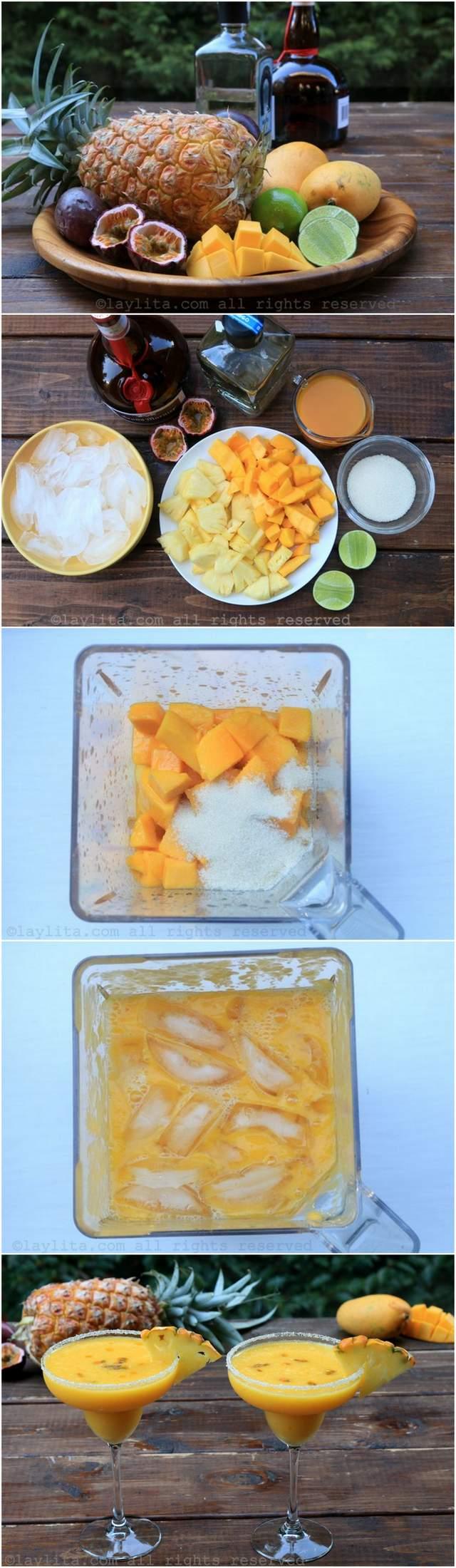 Como hacer margaritas frozen de frutas tropicales con piña y mango