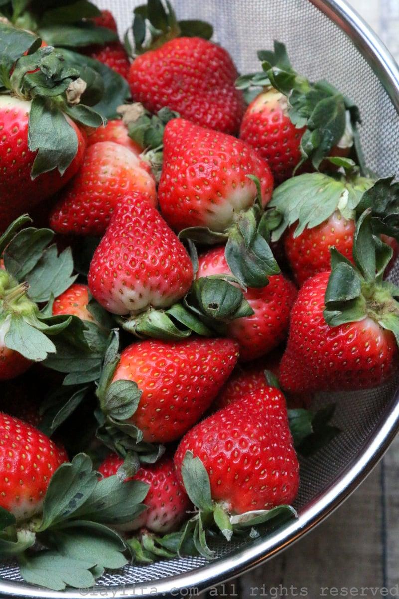 Fresas o frutillas para hacer gelatina natural