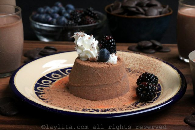 Panna cotta de chocolate negro