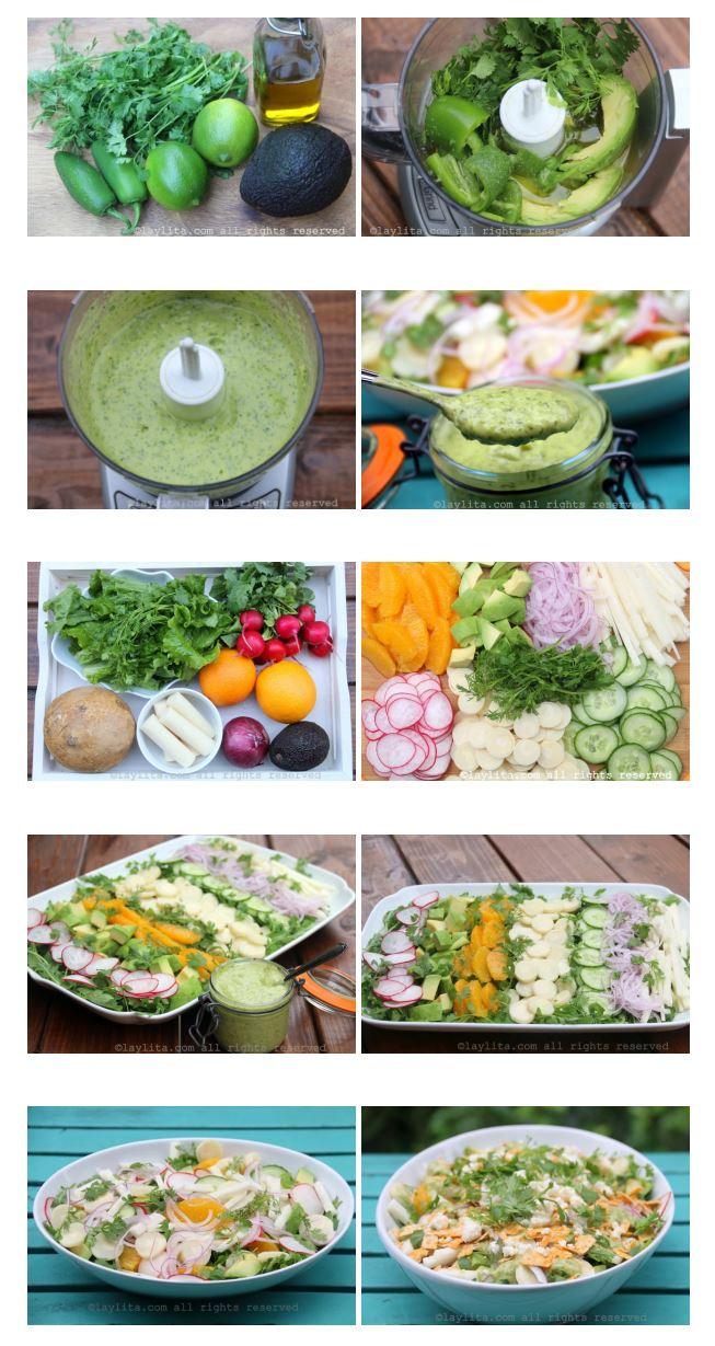 Como preparar la ensalada mixta de palmito y aguacate