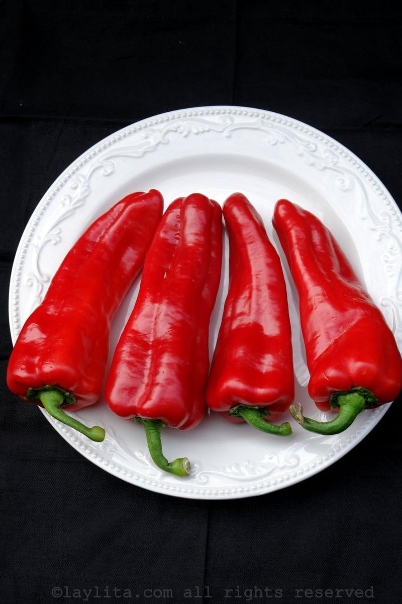 Pimientos rojos o pimentones para el gazpacho