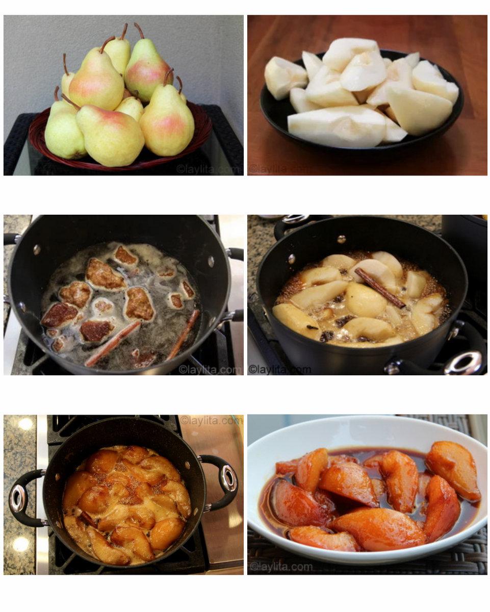 Como hacer dulce de peras o peras caramelizadas en miel de panela