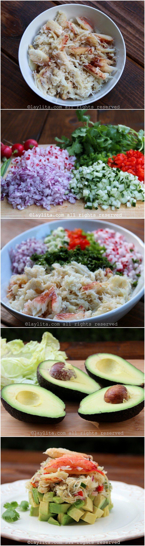 Preparación de la ensalada de capas de cangrejo y aguacate
