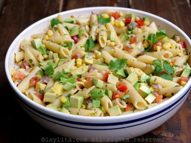 Ensalada de pasta facil y rapida - sin mayonesa