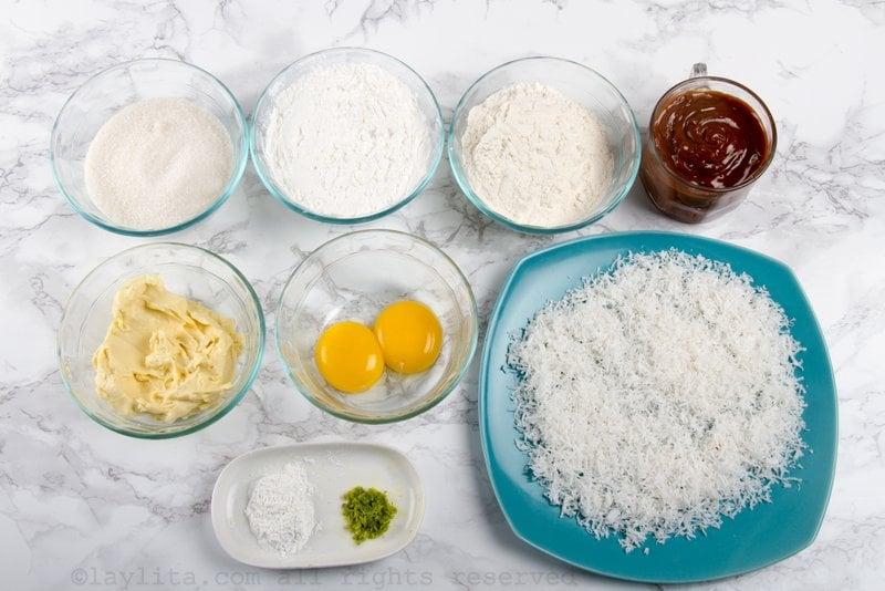 Ingredientes para preparar los afajores de maicena con relleno de dulce de leche