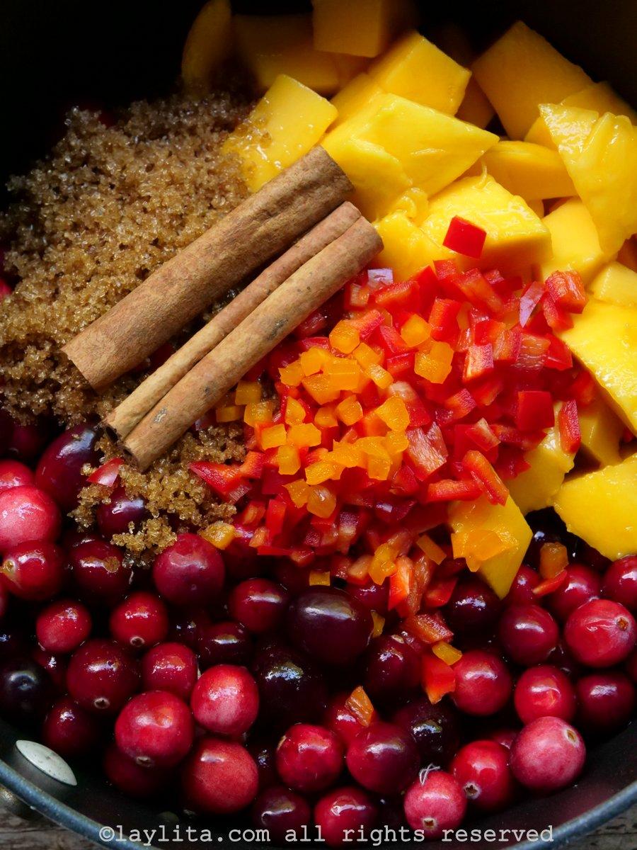 Ingredientes de la salsa de arandanos rojos o cranberries