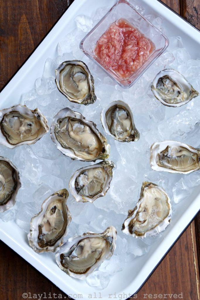 Mignonette o salsa de echalotes con vinagre para las ostras